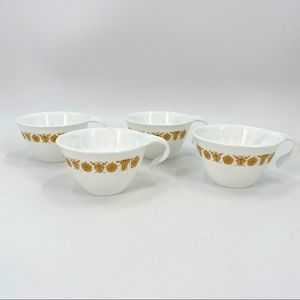 4 Corelle Butterfly Gold Hook Handle Cups VTG